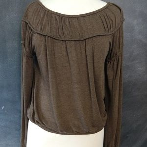 MAXSTUDIO | Brown Long Sleeve Blouse Size XS